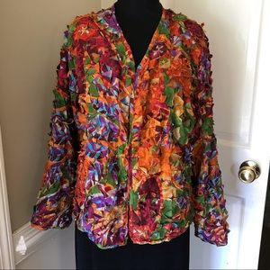 Chico's bright colored flare fabric jacket blazer